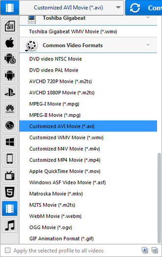 Choose AVI as the output format