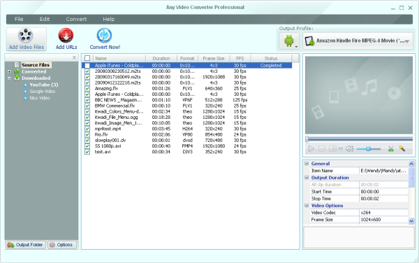 Main Window of WebM Video converter